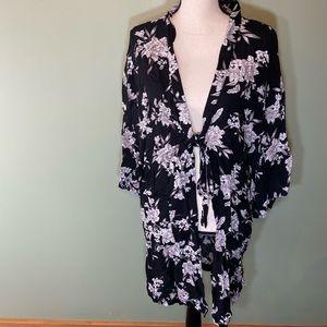 Spiritual Gangster OS Kimono floral Black white
